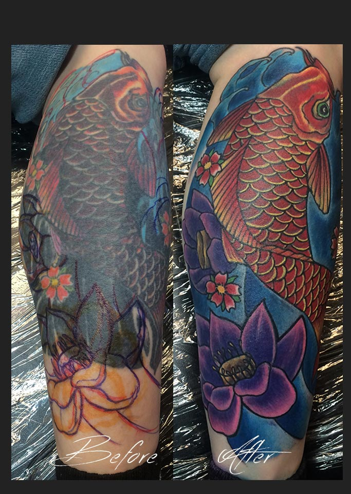 Before and after picture of Koi Fish tattoo