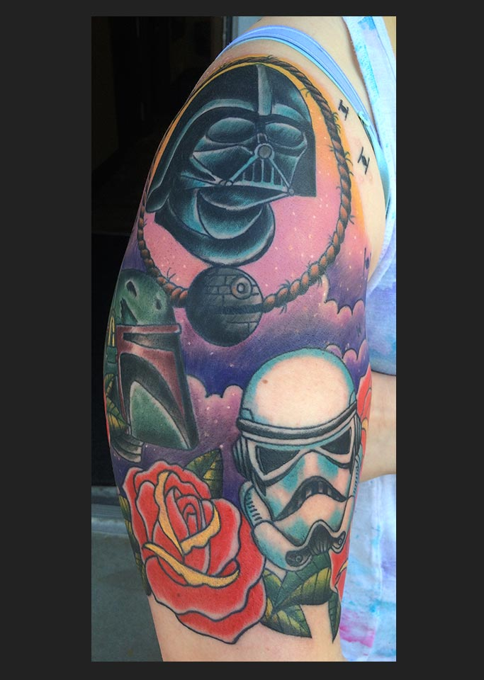 Picture of a Star Wars themed tattoo sleeve