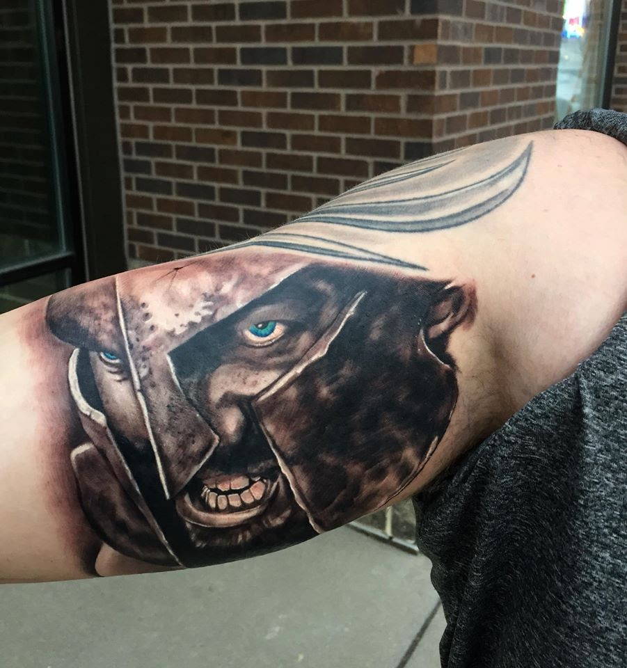 Black and gray Spartan warrior tattoo tattoo by Tyler of Neon Dragon in Cedar Rapids, Iowa